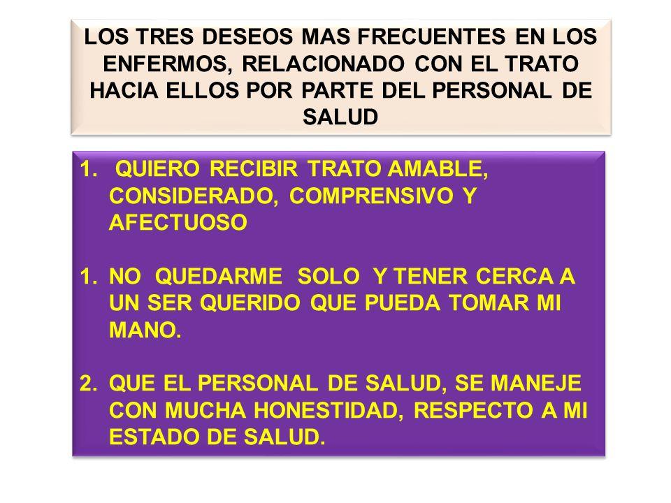 LOS TRES DESEOS MAS FRECUENTES EN LOS ENFERMOS, RELACIONADO CON EL TRATO HACIA ELLOS POR PARTE DEL PERSONAL DE SALUD