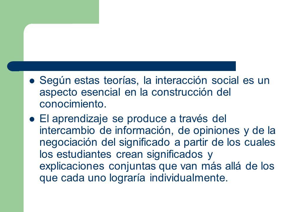 Según estas teorías, la interacción social es un aspecto esencial en la construcción del conocimiento.