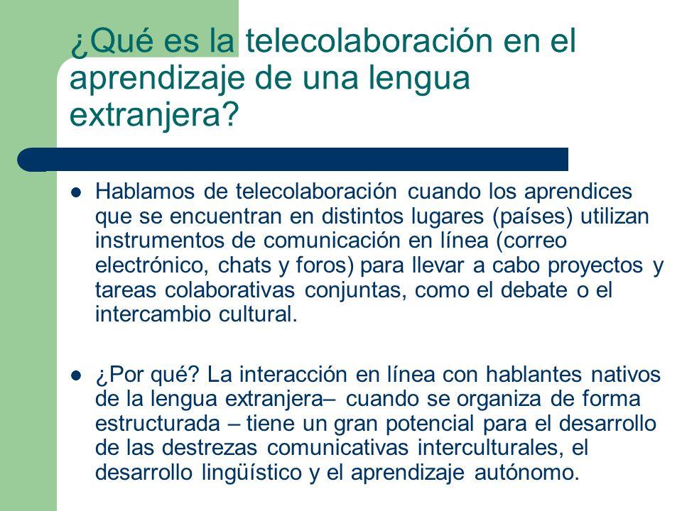 ¿Qué es la telecolaboración en el aprendizaje de una lengua extranjera
