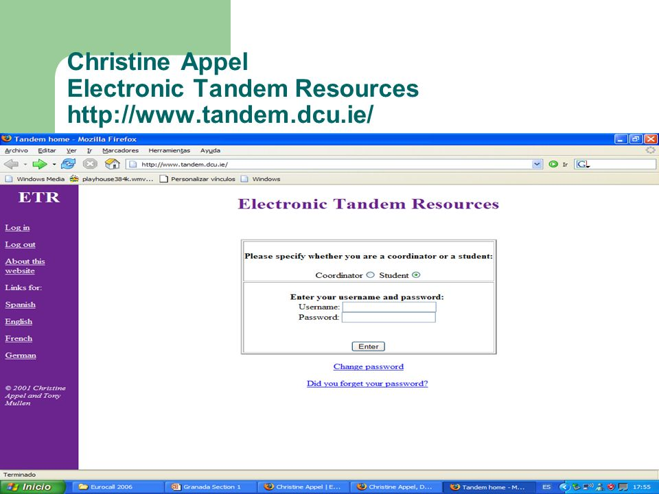 Christine Appel Electronic Tandem Resources http://www.tandem.dcu.ie/