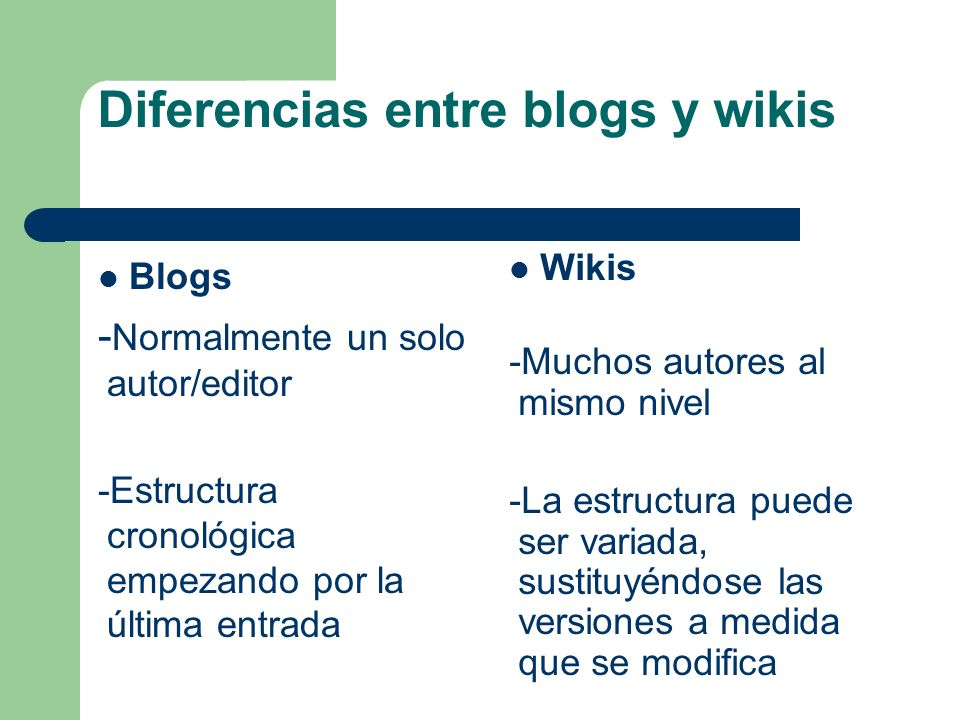 Diferencias entre blogs y wikis