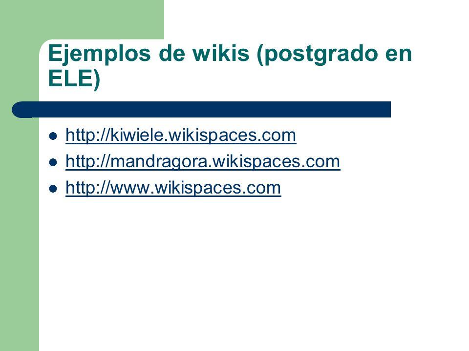 Ejemplos de wikis (postgrado en ELE)