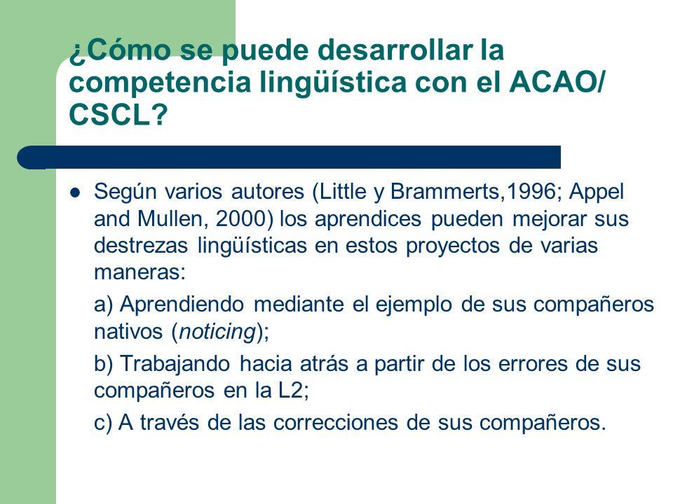 ¿Cómo se puede desarrollar la competencia lingüística con el ACAO/ CSCL