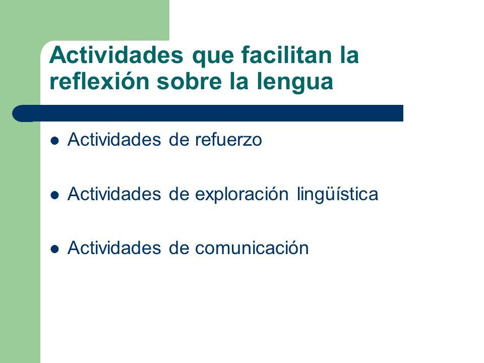 Actividades que facilitan la reflexión sobre la lengua