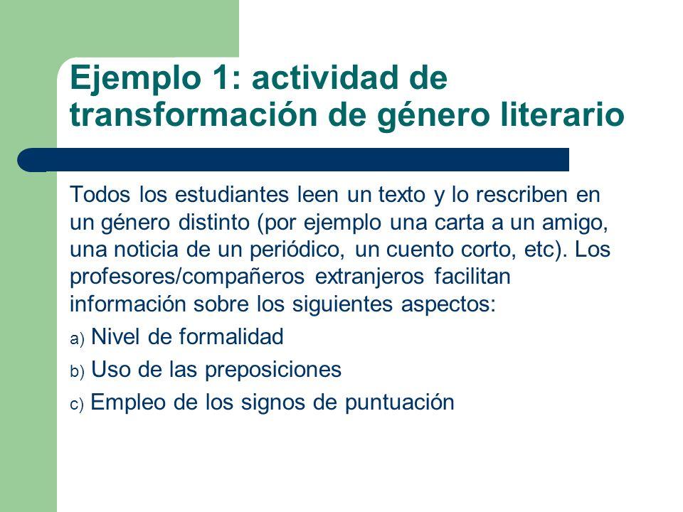 Ejemplo 1: actividad de transformación de género literario