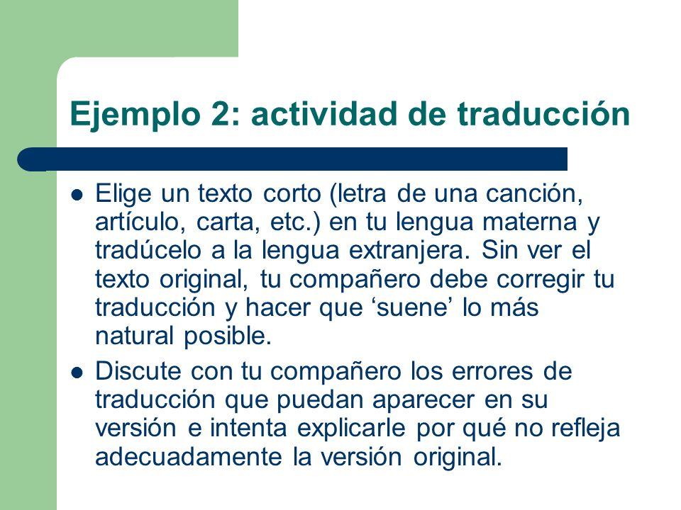 Ejemplo 2: actividad de traducción