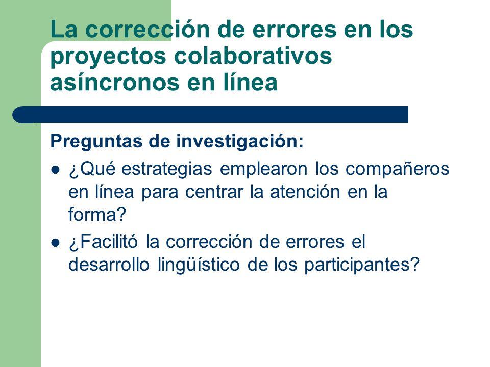 La corrección de errores en los proyectos colaborativos asíncronos en línea