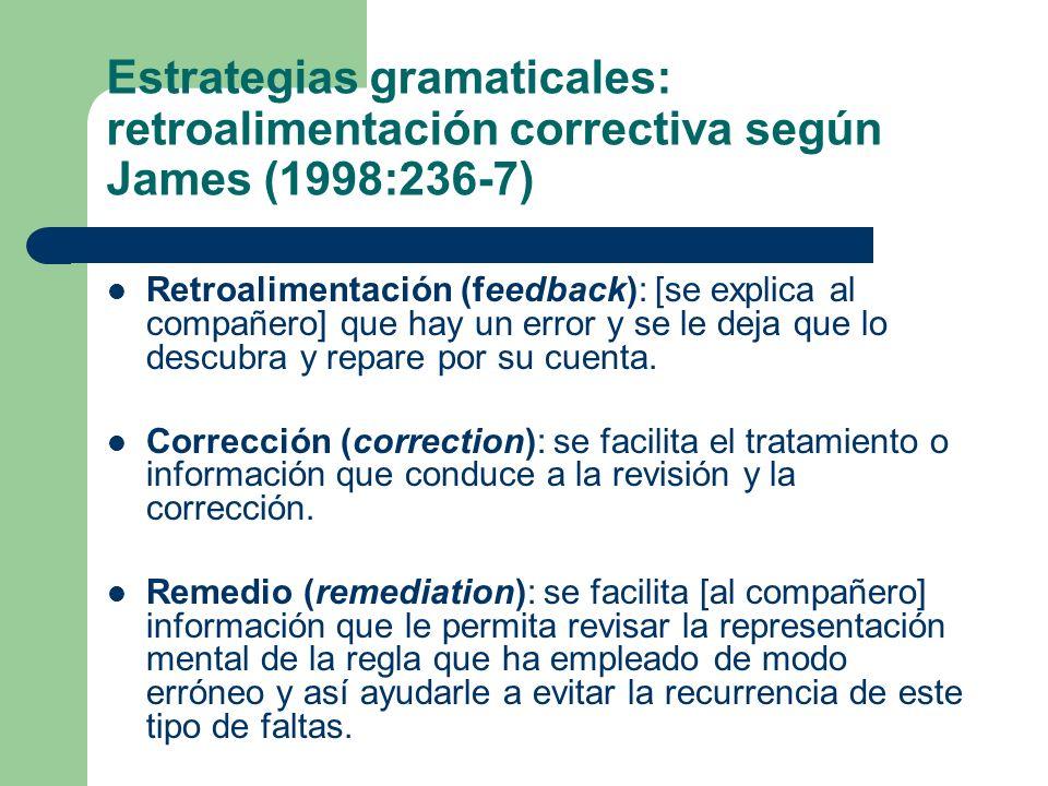 Estrategias gramaticales: retroalimentación correctiva según James (1998:236-7)
