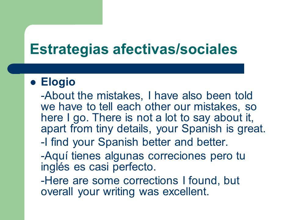 Estrategias afectivas/sociales