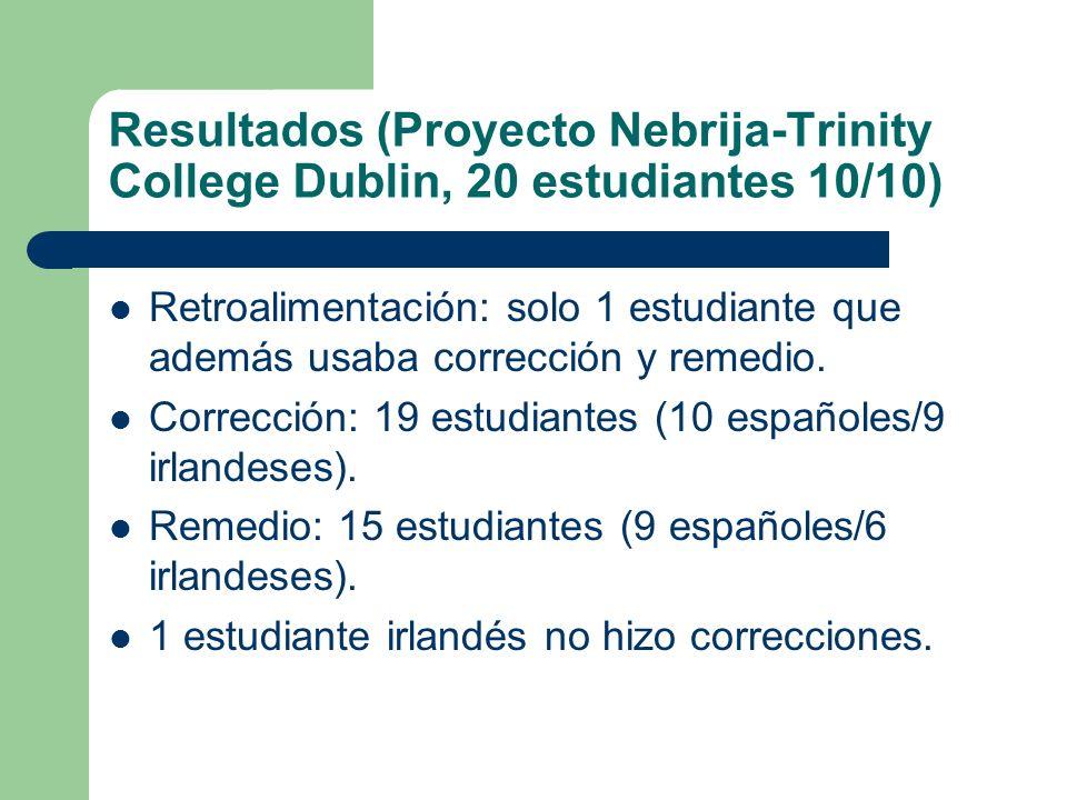 Resultados (Proyecto Nebrija-Trinity College Dublin, 20 estudiantes 10/10)