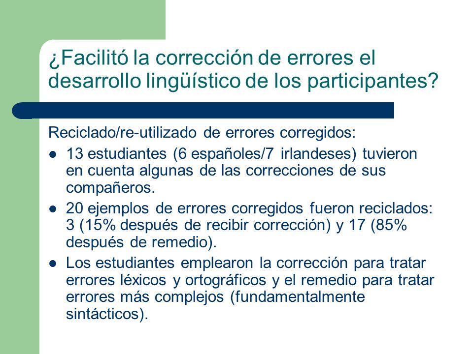 ¿Facilitó la corrección de errores el desarrollo lingüístico de los participantes