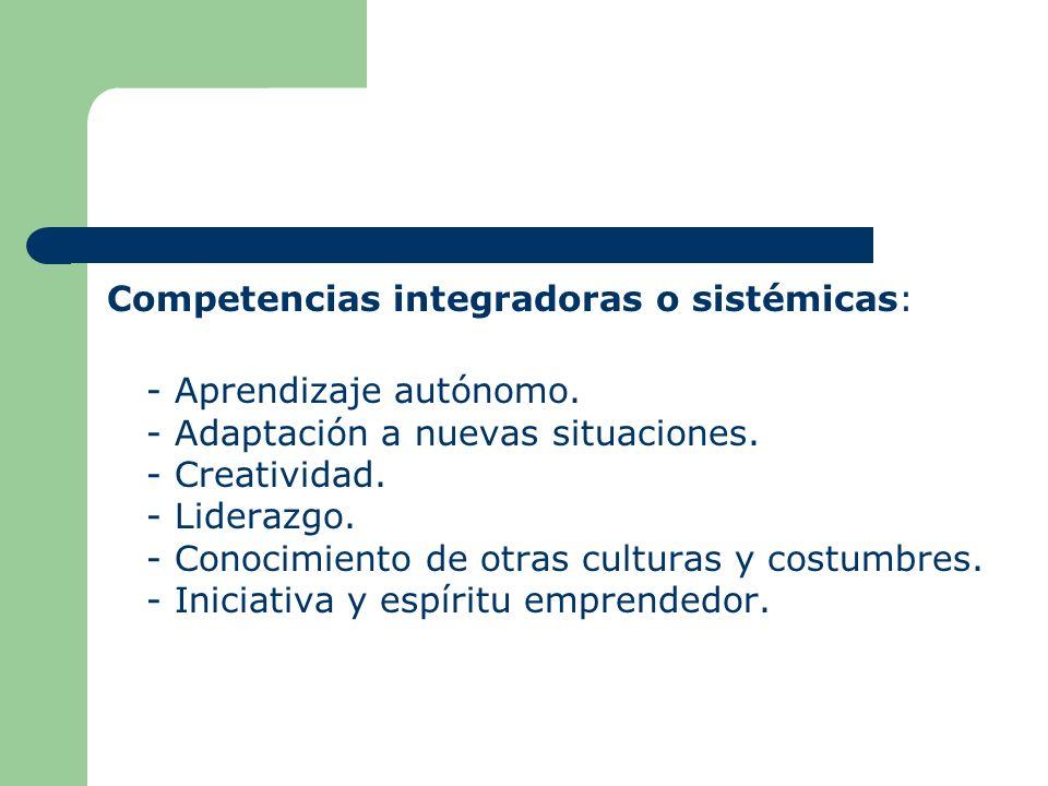 Competencias integradoras o sistémicas: