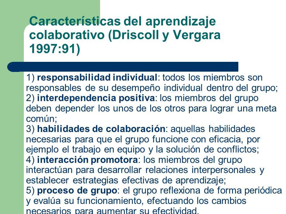 Características del aprendizaje colaborativo (Driscoll y Vergara 1997:91)