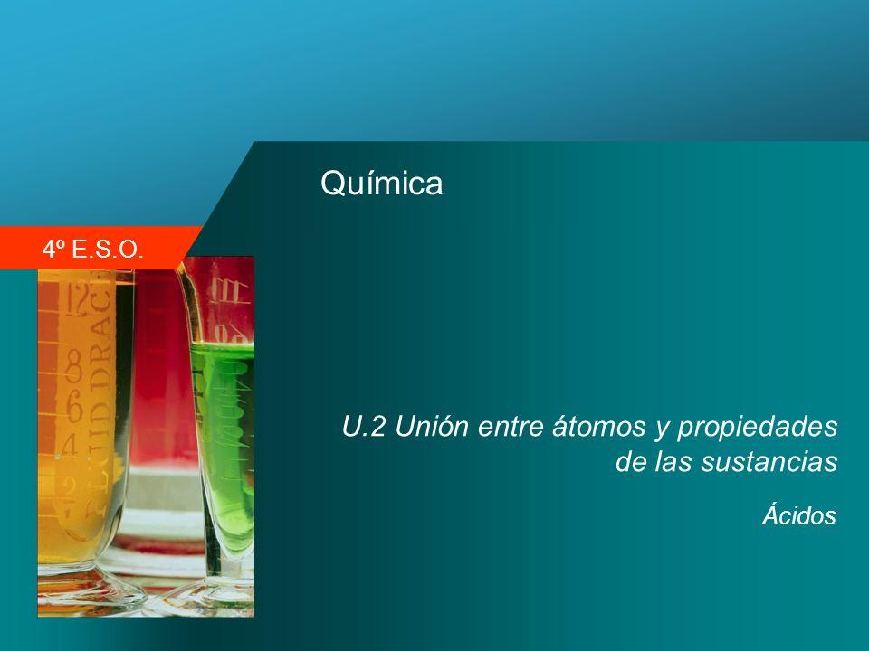 Química U.2 Unión entre átomos y propiedades de las sustancias Ácidos