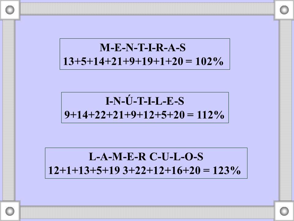 L-A-M-E-R C-U-L-O-S 12+1+13+5+19 3+22+12+16+20 = 123%