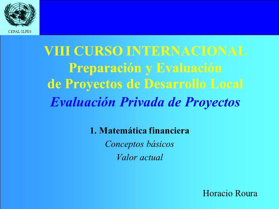 1. Matemática financiera Conceptos básicos Valor actual