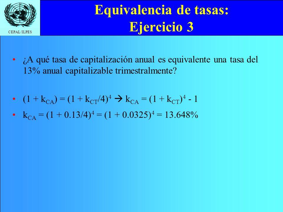Equivalencia de tasas: Ejercicio 3
