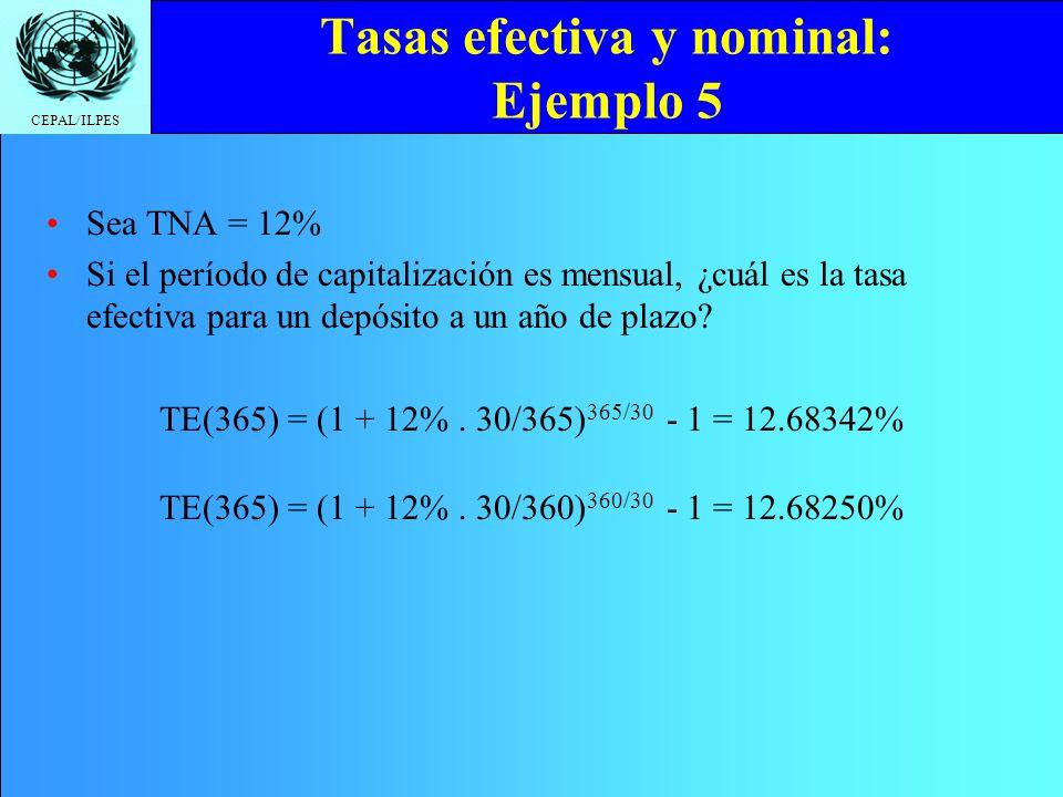 Tasas efectiva y nominal: Ejemplo 5