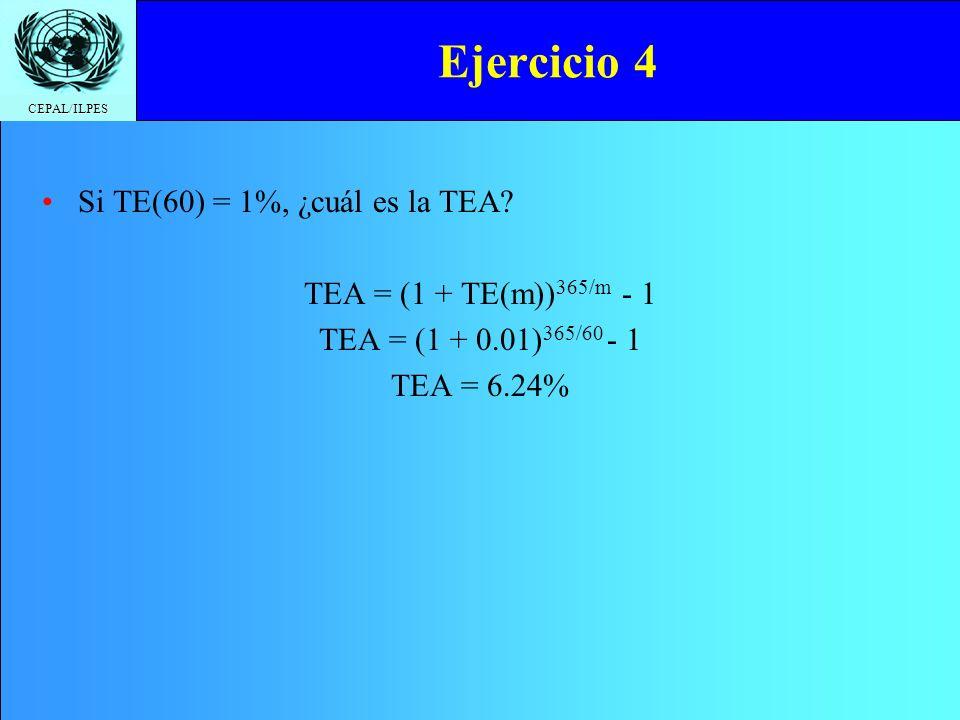 Ejercicio 4 Si TE(60) = 1%, ¿cuál es la TEA