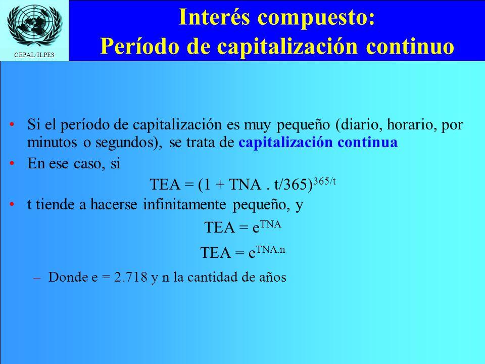 Interés compuesto: Período de capitalización continuo