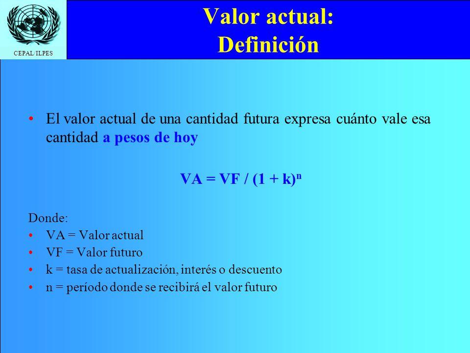 Valor actual: Definición