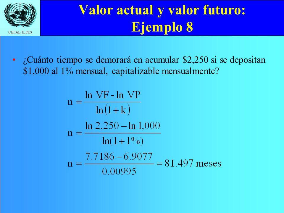 Valor actual y valor futuro: Ejemplo 8