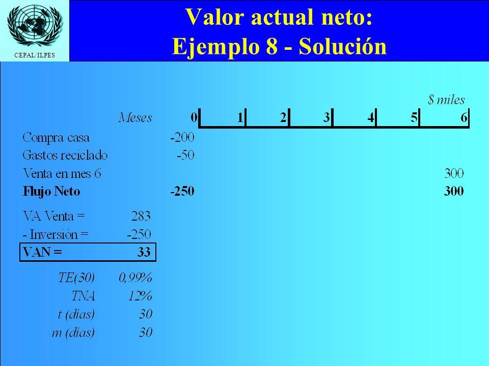 Valor actual neto: Ejemplo 8 - Solución