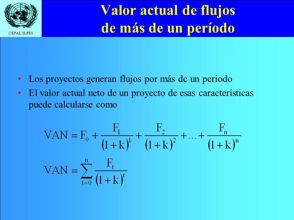 Valor actual de flujos de más de un período