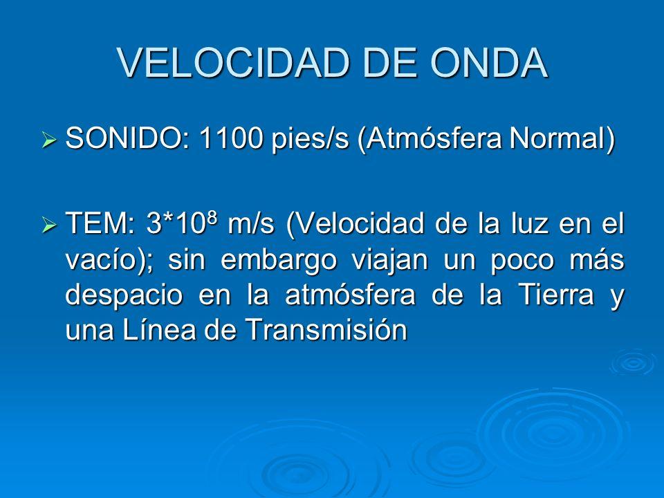 VELOCIDAD DE ONDA SONIDO: 1100 pies/s (Atmósfera Normal)