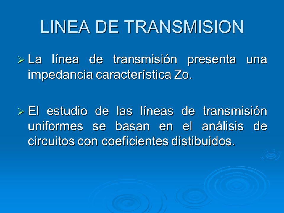 LINEA DE TRANSMISION La línea de transmisión presenta una impedancia característica Zo.