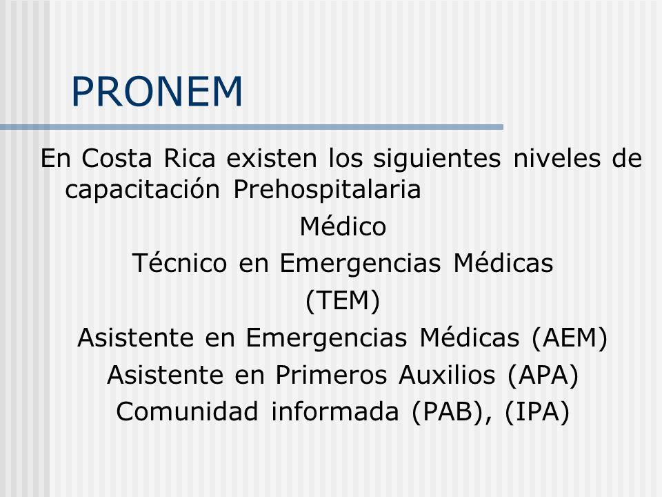 PRONEM En Costa Rica existen los siguientes niveles de capacitación Prehospitalaria. Médico. Técnico en Emergencias Médicas.