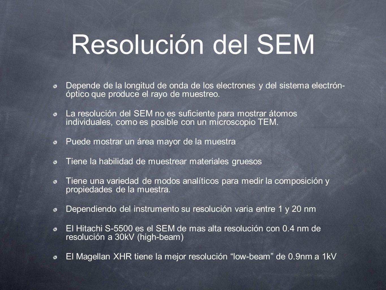 Resolución del SEM Depende de la longitud de onda de los electrones y del sistema electrón- óptico que produce el rayo de muestreo.
