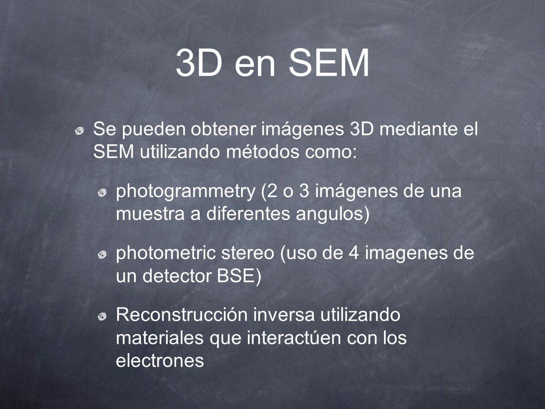 3D en SEM Se pueden obtener imágenes 3D mediante el SEM utilizando métodos como: