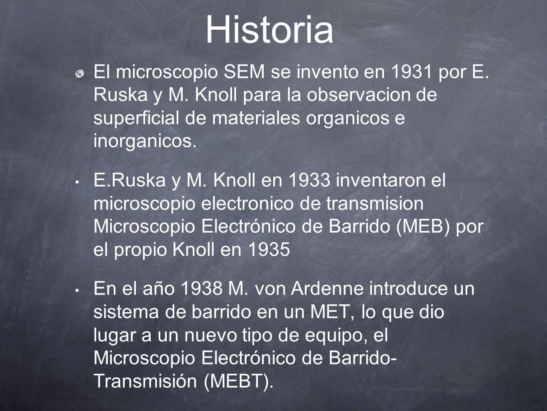 Historia El microscopio SEM se invento en 1931 por E. Ruska y M. Knoll para la observacion de superficial de materiales organicos e inorganicos.