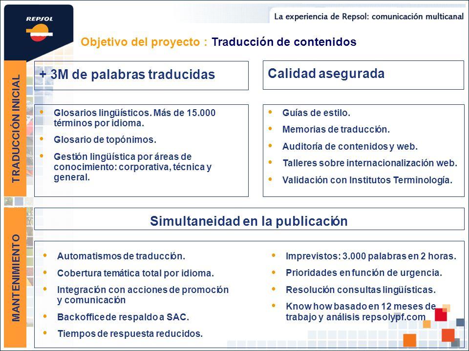 • + 3M de palabras traducidas Simultaneidad en la publicaci n