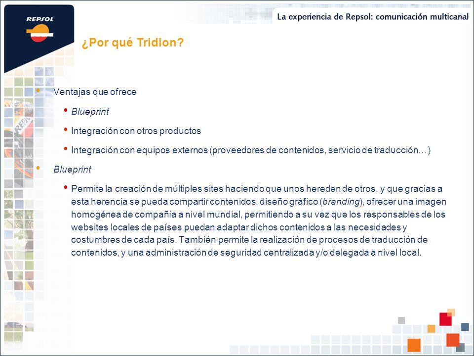 ¿Por qué Tridion Ventajas que ofrece Blueprint