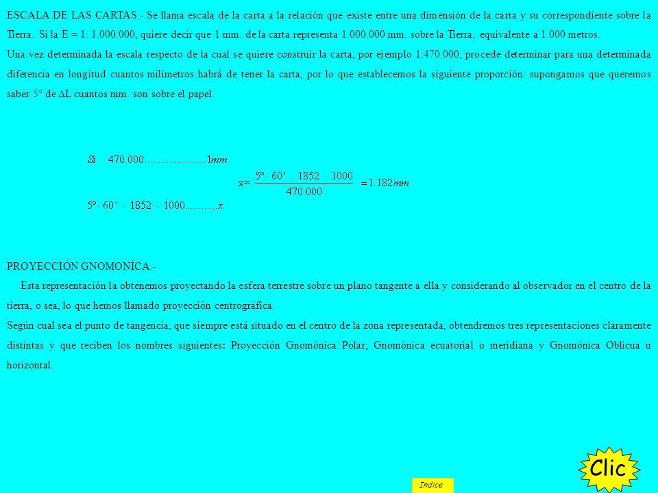 ESCALA DE LAS CARTAS.- Se llama escala de la carta a la relación que existe entre una dimensión de la carta y su correspondiente sobre la Tierra. Si la E = 1: 1.000.000, quiere decir que 1 mm. de la carta representa 1.000.000 mm. sobre la Tierra, equivalente a 1.000 metros.