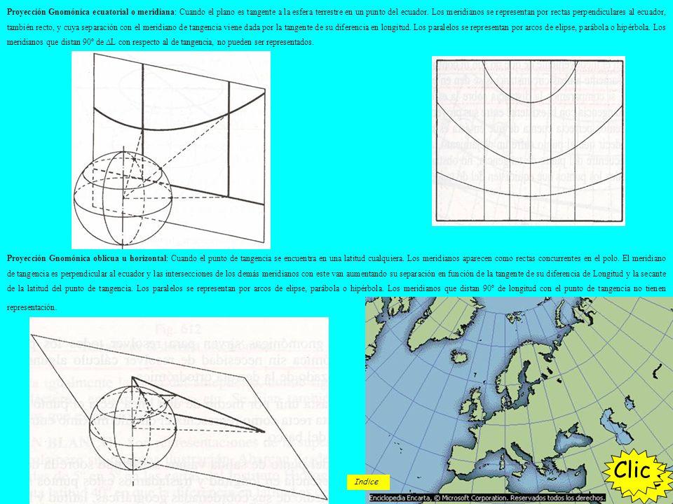 Proyección Gnomónica ecuatorial o meridiana: Cuando el plano es tangente a la esfera terrestre en un punto del ecuador. Los meridianos se representan por rectas perpendiculares al ecuador, también recto, y cuya separación con el meridiano de tangencia viene dada por la tangente de su diferencia en longitud. Los paralelos se representan por arcos de elipse, parábola o hipérbola. Los meridianos que distan 90º de ∆L con respecto al de tangencia, no pueden ser representados.