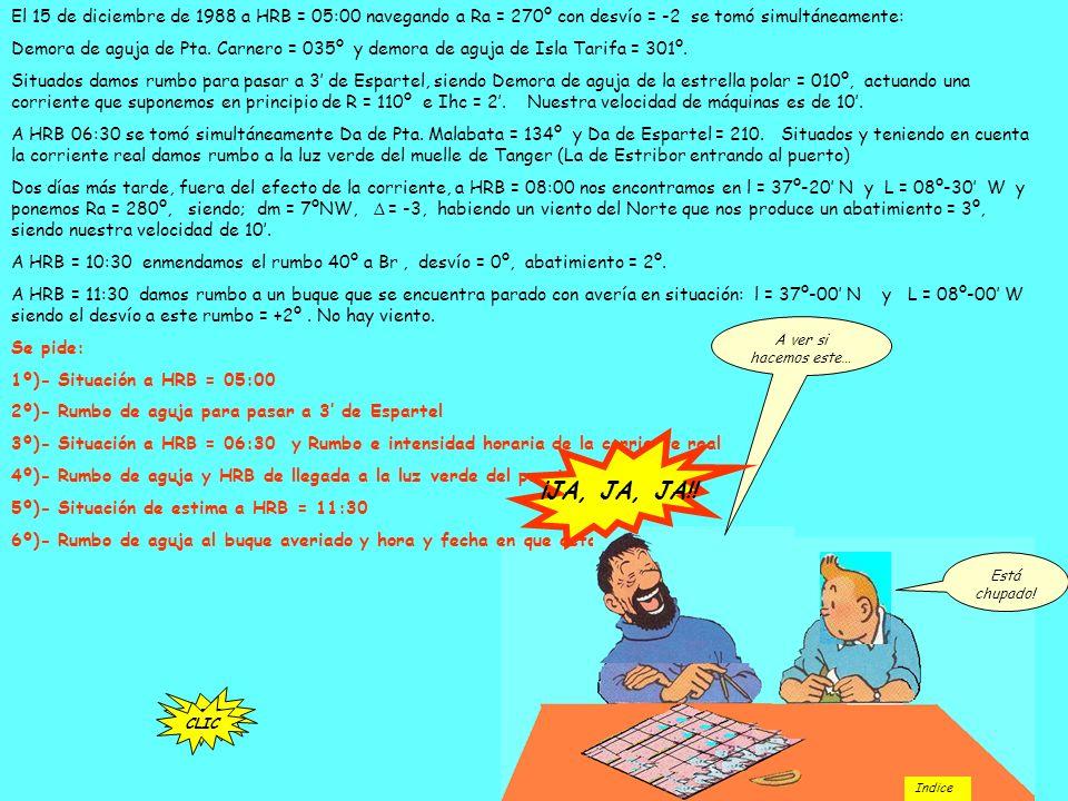 El 15 de diciembre de 1988 a HRB = 05:00 navegando a Ra = 270º con desvío = -2 se tomó simultáneamente: