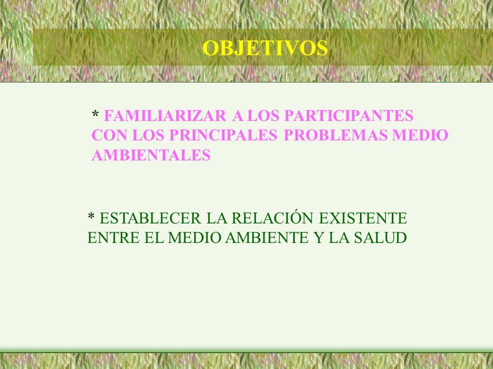 OBJETIVOS* FAMILIARIZAR A LOS PARTICIPANTES CON LOS PRINCIPALES PROBLEMAS MEDIO AMBIENTALES.