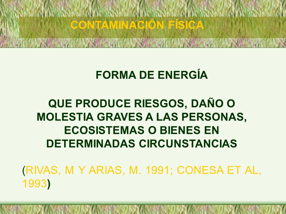 CONTAMINACIÓN FÍSICA FORMA DE ENERGÍA.