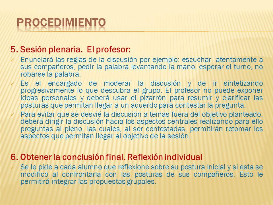 Procedimiento 5. Sesión plenaria. El profesor: