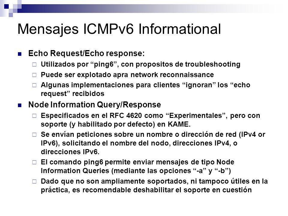 Mensajes ICMPv6 Informational