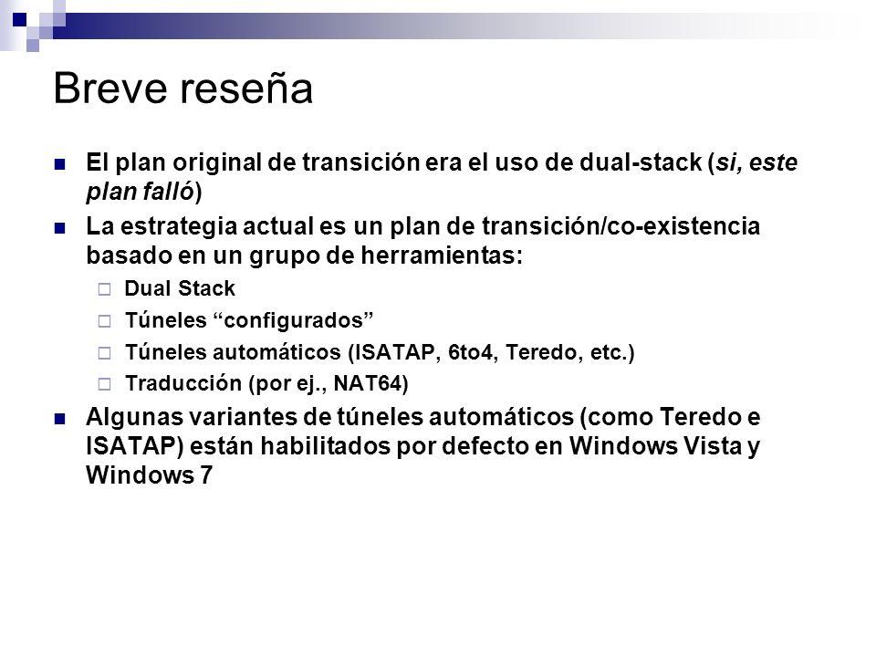 Breve reseña El plan original de transición era el uso de dual-stack (si, este plan falló)