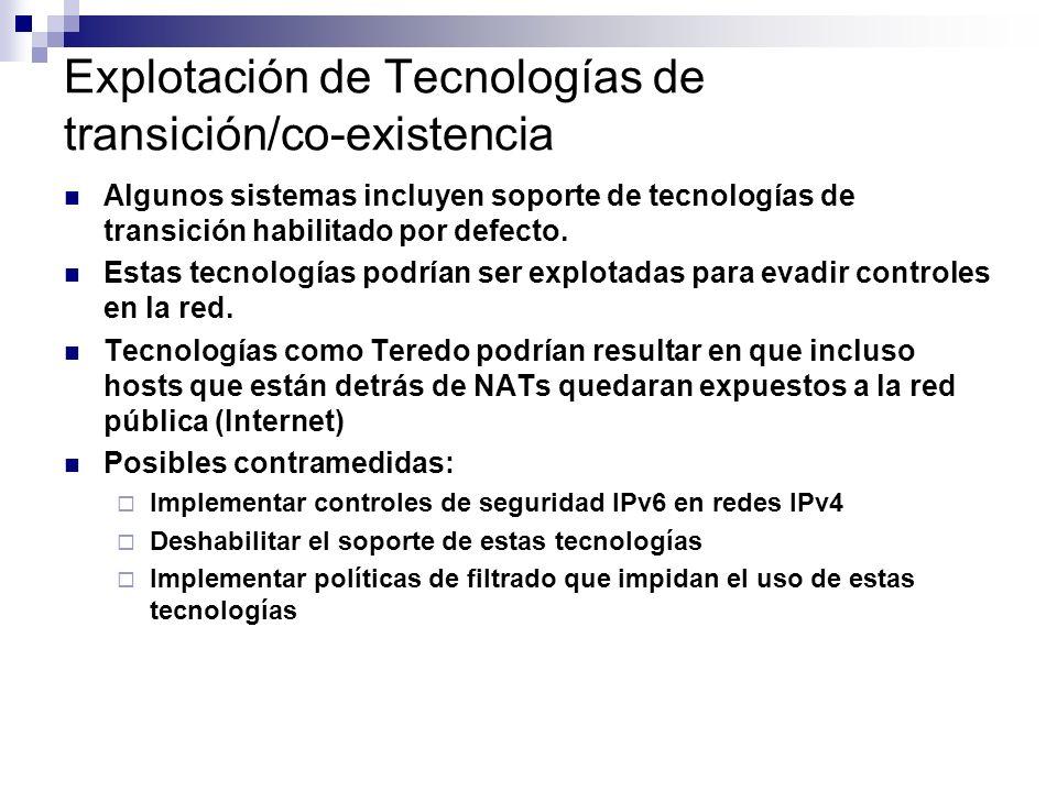 Explotación de Tecnologías de transición/co-existencia