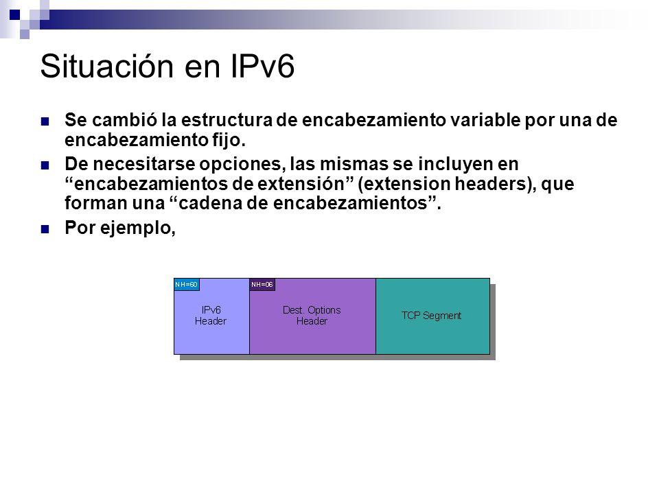 Situación en IPv6 Se cambió la estructura de encabezamiento variable por una de encabezamiento fijo.