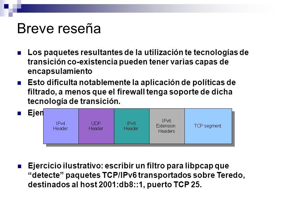 Breve reseña Los paquetes resultantes de la utilización te tecnologías de transición co-existencia pueden tener varias capas de encapsulamiento.
