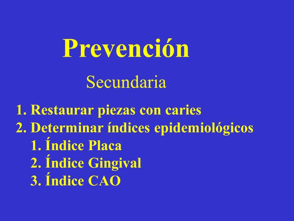 Prevención Secundaria Restaurar piezas con caries