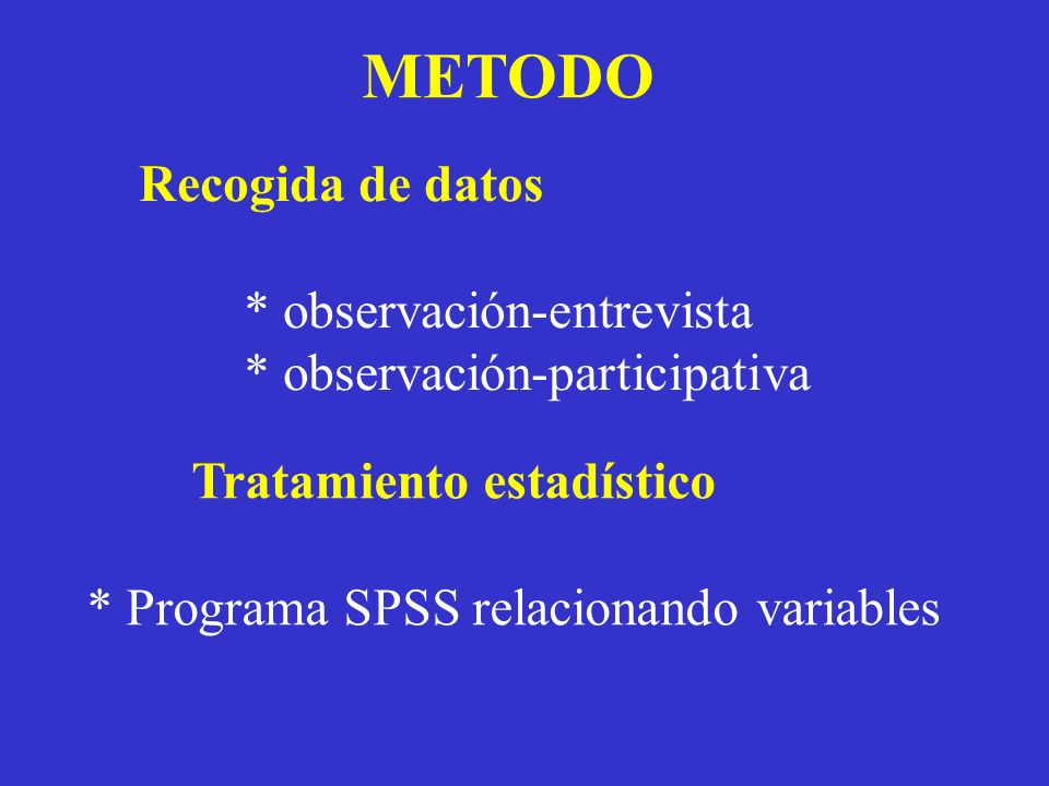 METODO Recogida de datos * observación-entrevista