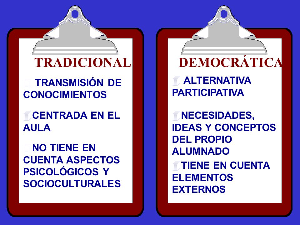 TRADICIONAL DEMOCRÁTICA ALTERNATIVA PARTICIPATIVA